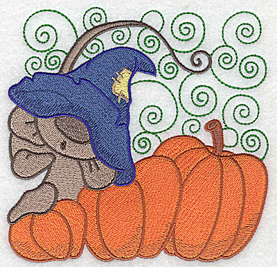 Embroidery Design: Mouse on pumpkins large 4.95w X 4.86h