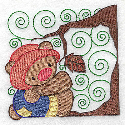 Embroidery Design: Bear under tree small 3.88w X 3.87h