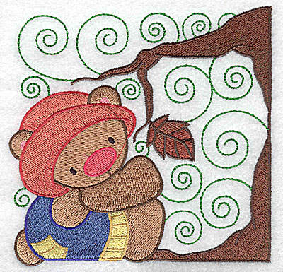 Embroidery Design: Bear under tree large 4.97w X 4.95h