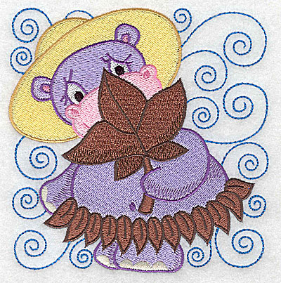 Embroidery Design: Hippo in leaf skirt large 4.86w X 4.92h