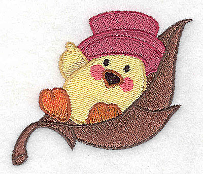 Embroidery Design: Chick in leaf 3.01w X 2.45h