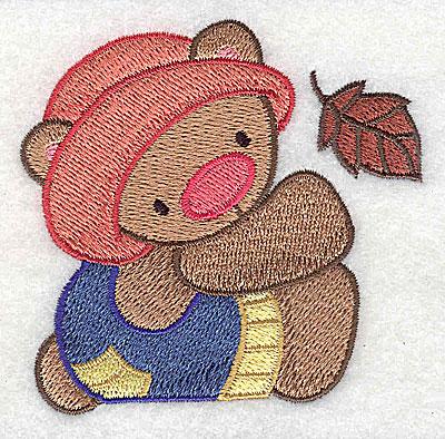 Embroidery Design: Teddy Bear with leaf 3.01w X 2.94h