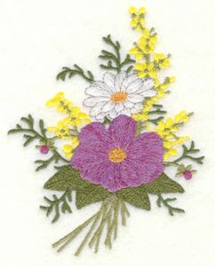 Embroidery Design: Floral Bouquet two flower large3.93w X 5.00h