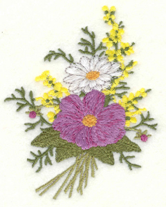 Embroidery Design: Floral Bouquet two flower small3.07w X 3.90h