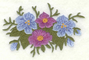 Embroidery Design: Flowers blue and mauve large3.90w X 2.60h