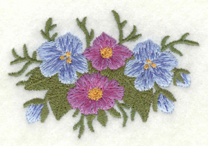 Embroidery Design: Flowers blue and mauve small3.00w X 2.00h