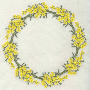 Embroidery Design: Yellow flowers circle6.99w X 6.99h