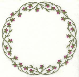 Embroidery Design: Vine circle with buds6.90w X 6.90h