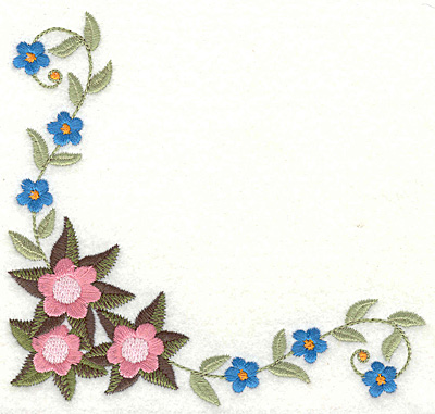 Embroidery Design: Floral corner A large 4.98w X 4.73h