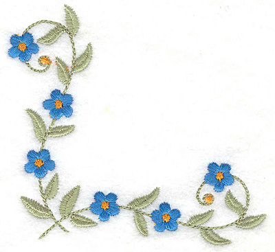 Embroidery Design: Floral corner mini flowers 3.86w X 3.59h