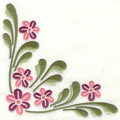 Embroidery Design: Floral corner B large 4.96w X 4.96h