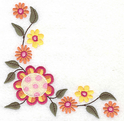 Embroidery Design: Floral corner C large 4.96w X 4.88h