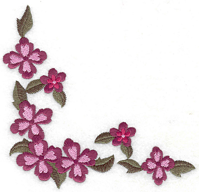 Embroidery Design: Floral corner D large 4.95w X 4.83h