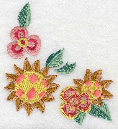 Embroidery Design: Floral corner E 3.42w X 3.89h