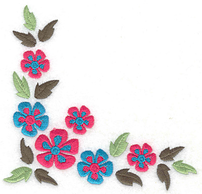 Embroidery Design: Floral corner F large  4.98w X 4.69h