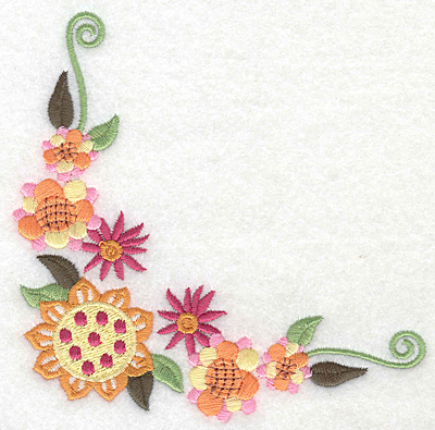 Embroidery Design: Floral corner G large 4.97w X 4.93h