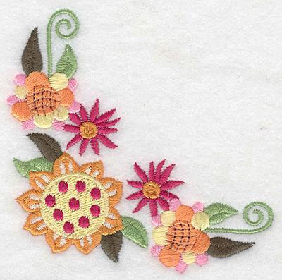 Embroidery Design: Floral corner G   3.87w X 3.83h