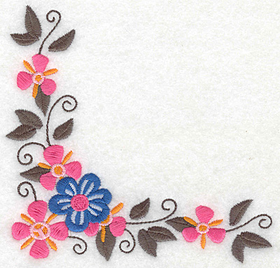 Embroidery Design: Floral corner H large 4.98w X 4.78h