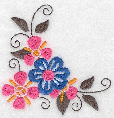 Embroidery Design: Floral corner H 3.85w X 3.87h