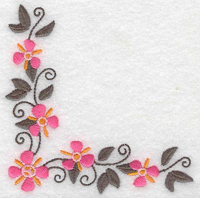 Embroidery Design: Floral corner I 3.88w X 3.89h