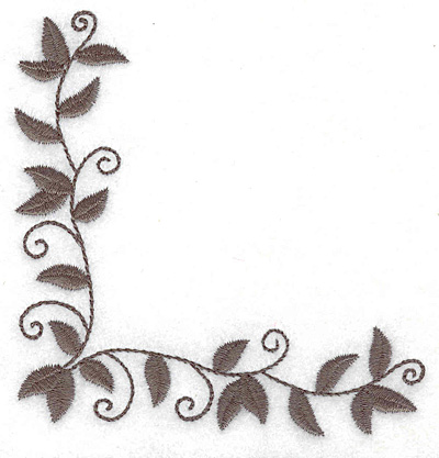 Embroidery Design: Leaf and vine corner I 3.86w X 3.86h