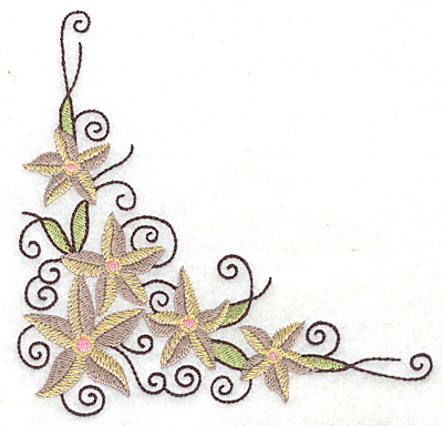 Embroidery Design: Floral corner J large 4.97w X 4.83h