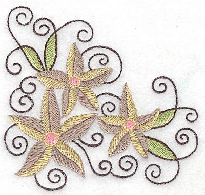 Embroidery Design: Floral corner J 3.89w X 3.71h
