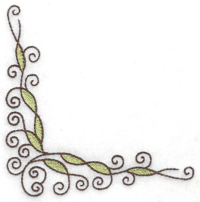 Embroidery Design: Swirl corner J 3.77w X 3.87h