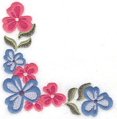 Embroidery Design: Floral corner L large 4.65w X 4.96h
