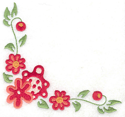 Embroidery Design: Floral corner M large 4.98w X 4.62h