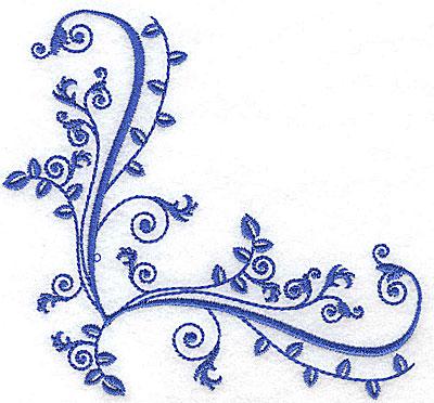 Embroidery Design: Fancy Baroque corner leaf design 4.67w X 4.39h
