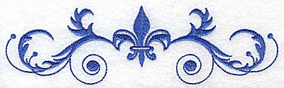 Embroidery Design: Fancy Baroque with large fleur-de-lys 6.95w X 2.01h