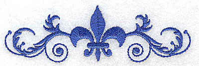 Embroidery Design: Fancy Baroque fleur-dy-lys in center small 3.88w X 1.20h