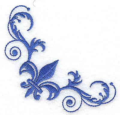 Embroidery Design: Fancy Baroque fleur-de-lys corner large 3.40w X 3.40h