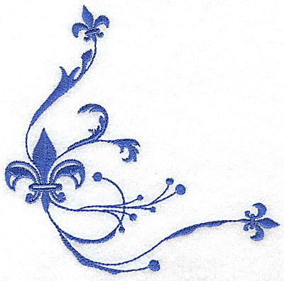 Embroidery Design: Fancy Baroque fleur-de-lys trio large 5.06w X 4.98h