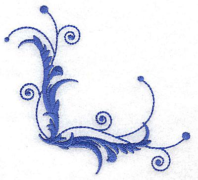 Embroidery Design: Fancy Baroque leaf swirl small 3.83w X 3.58h