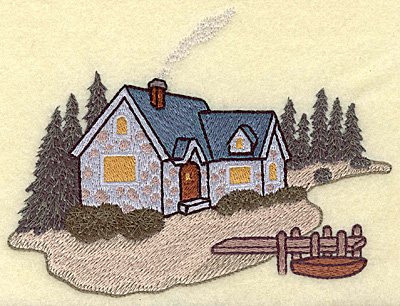 Embroidery Design: Cozy cottage large 5.93w X 4.50h