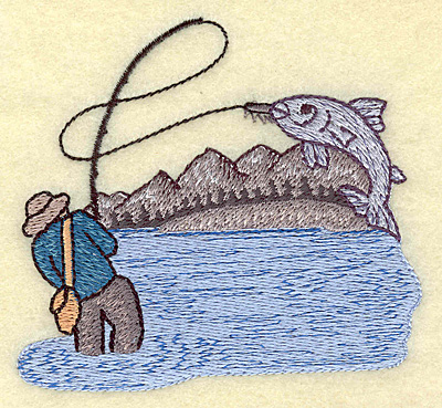 Embroidery Design: Fishing small 3.83w X 3.45h