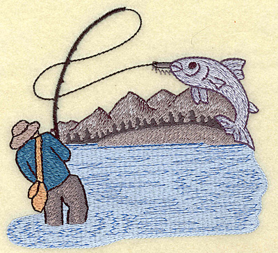 Embroidery Design: Fishing large 4.97w X 4.48h