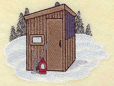 Embroidery Design: Ice fishing hut large 4.97w X 3.84h