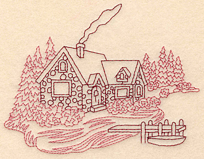 Embroidery Design: Cozy Cottage redwork 4.79w X 3.79h