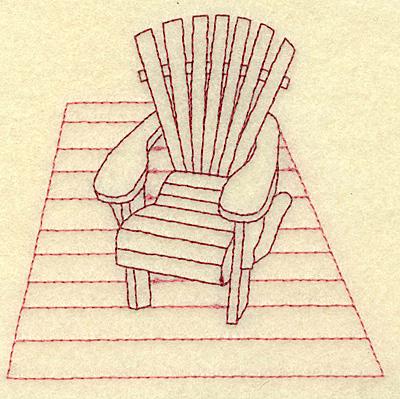 Embroidery Design: Adirondack chair on deck redwork 3.89w X 3.77h