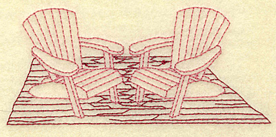 Embroidery Design: Adirondack chairs redwork 4.98w X 2.20h