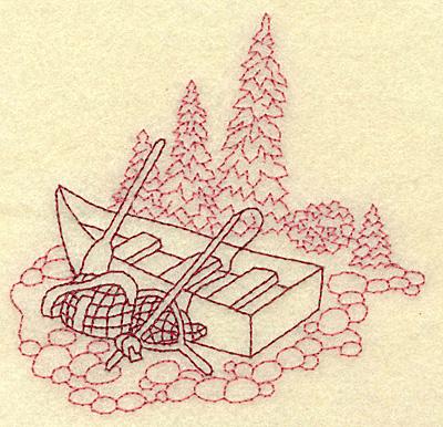 Embroidery Design: Fisherman's boat redwork 3.89w X 3.81h