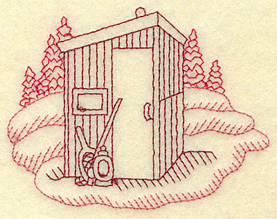 Embroidery Design: Ice fishing hut redwork 3.83w X 2.97h