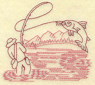 Embroidery Design: Fishing redwork 3.88w X 3.46h