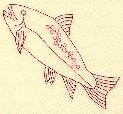 Embroidery Design: Fish A redwork  3.87w X 3.56h