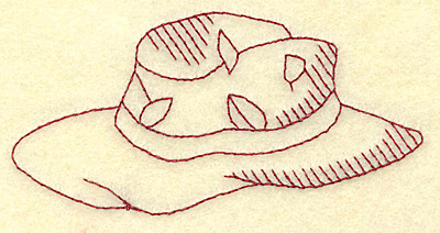 Embroidery Design: Fishing hat redwork 3.86w X 1.94h