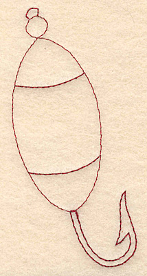 Embroidery Design: Fishing lure A redwork 1.88w X 3.88h