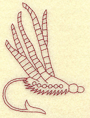 Embroidery Design: Fishing lure B redwork 2.80w X 3.87h